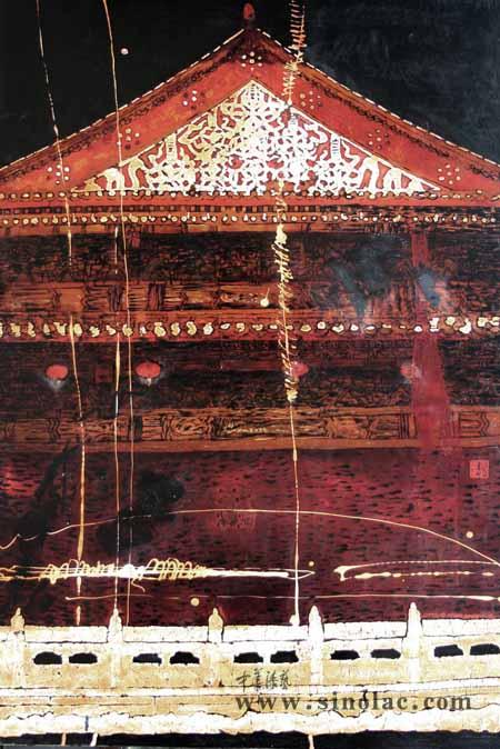 木结构建筑 漆画